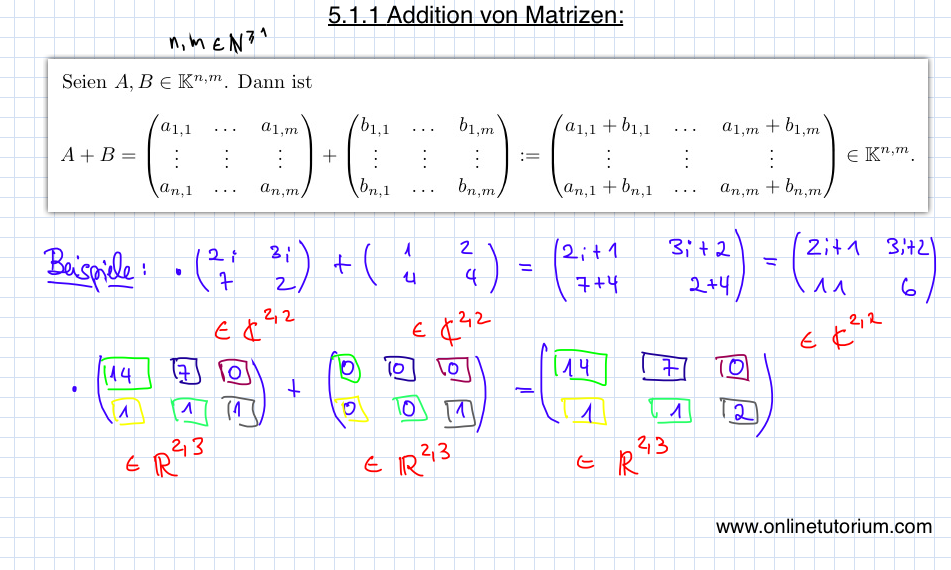5.1.1 Addition von Matrizen