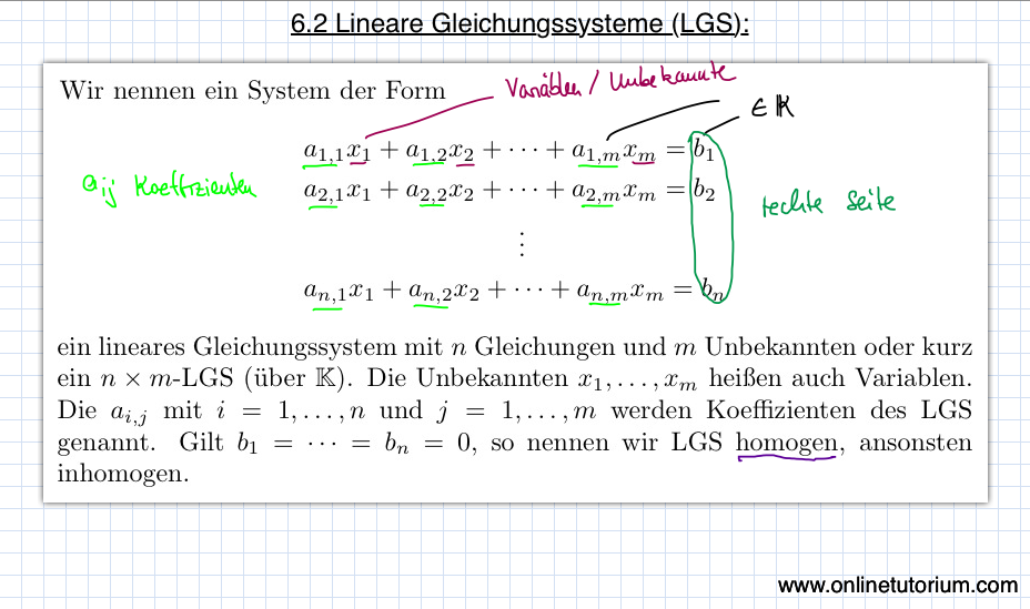 6.2 Lineare Gleichungssysteme