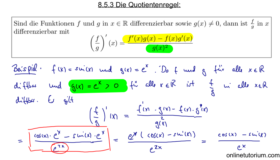 8.5.3 Die Quotientenregel