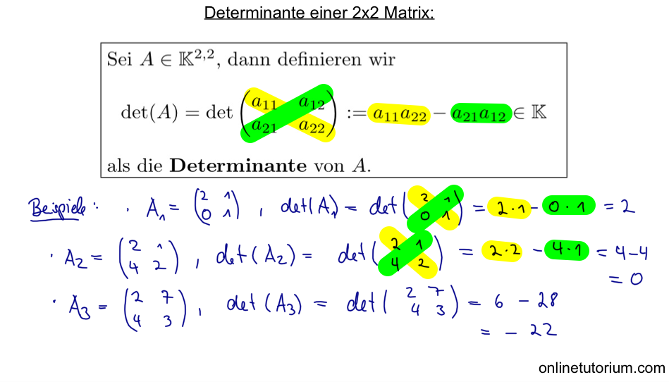 02 Determinante einer 2x2 Matrix