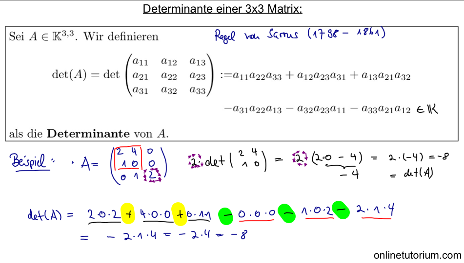 03 Determinante einer 3x3 Matrix